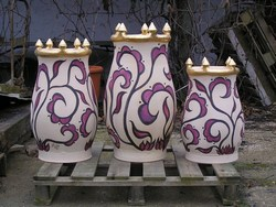 Middle eastern style pots with real gold rims, for Chelsea!